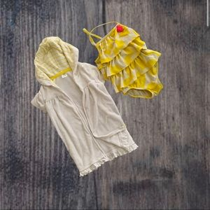 Carters 2 piece Swimsuit Coverup size 18 M Yellow